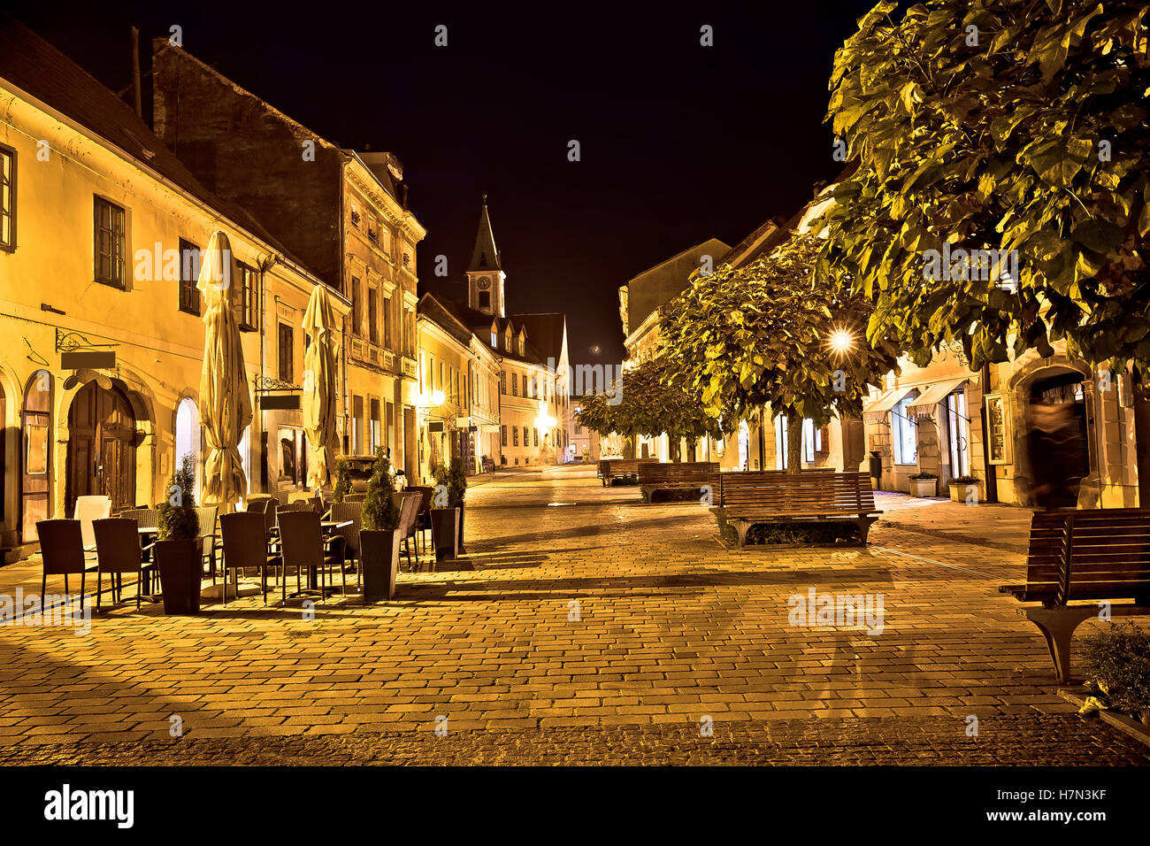 Varazdin baroque old street evening view, northern Croatia - Stock Image