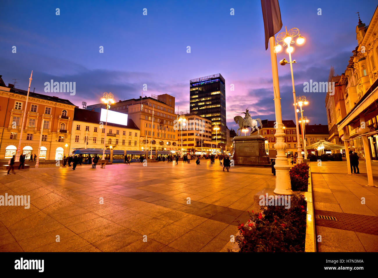 Zagreb main square evening view, capital of Croatia - Stock Image