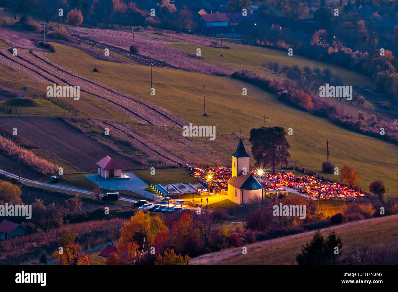 Idyllic church and graveyard evening view from above, Prigorje region of Croatia - Stock Image