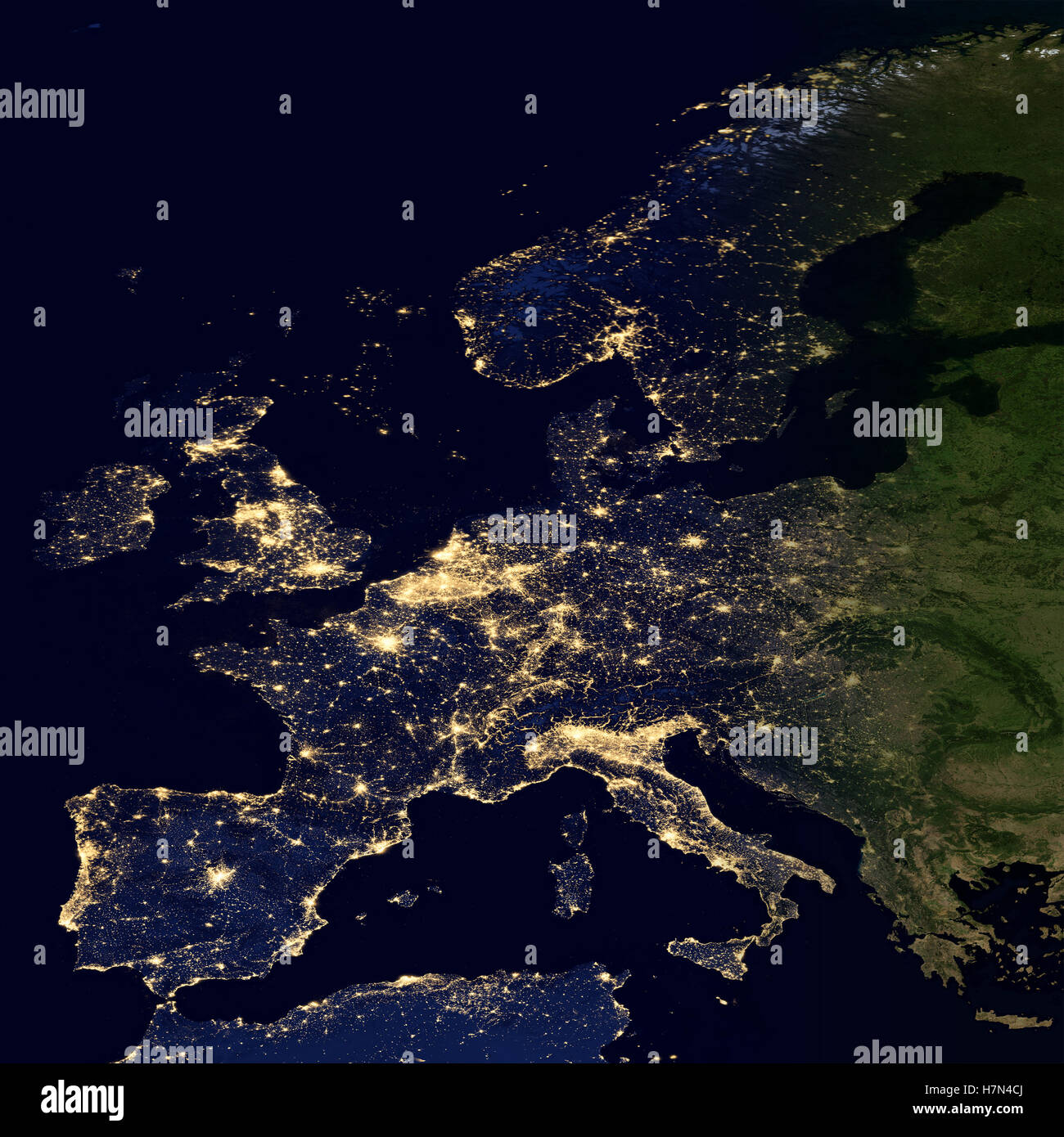 city lights on world map europe elements of this image are furnished by nasa