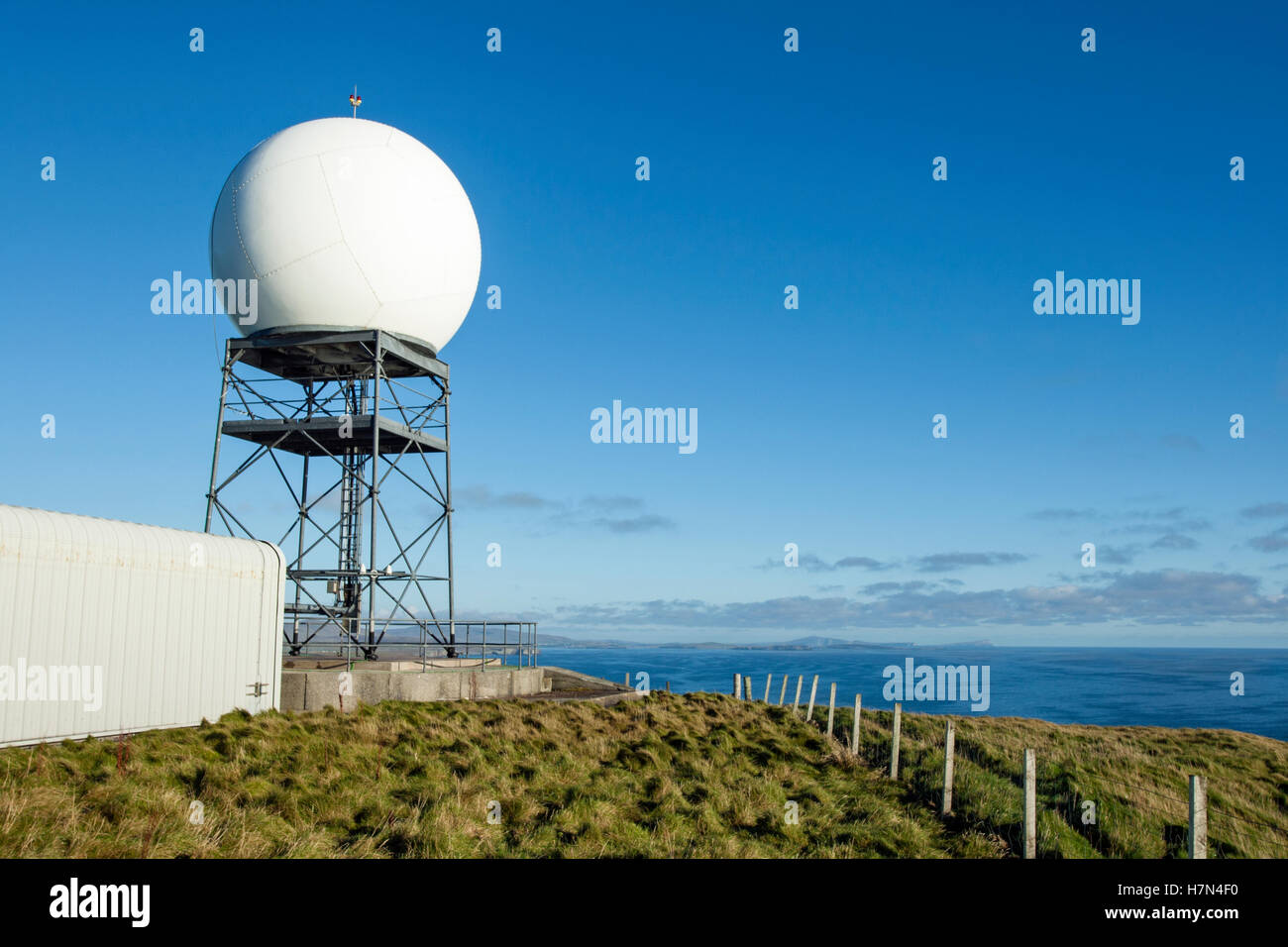Radar dome at Compass Head, Mainland Shetland - Stock Image