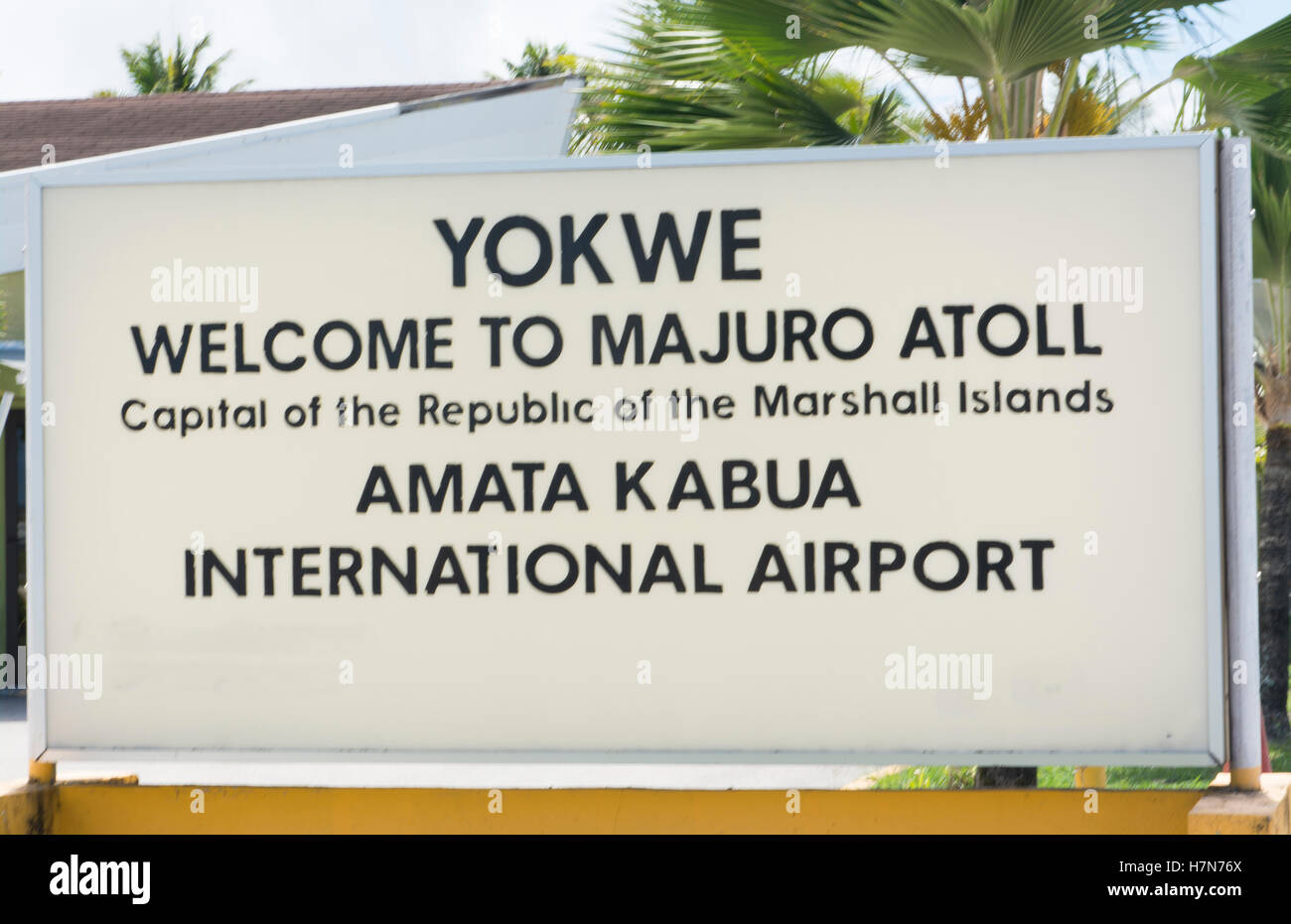 Majuro Marshall Islands sign for airport arrival - Stock Image