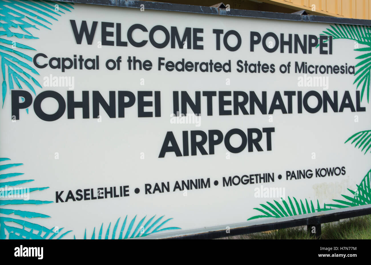 Pohnpei Micronesia airport sign welcome arrival - Stock Image