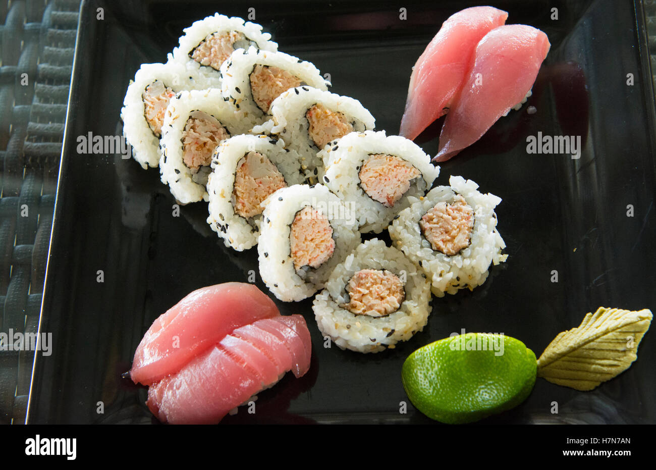 Pohnpei Micronesia beautiful sushi colorful fish food spiced crab in restaurant - Stock Image
