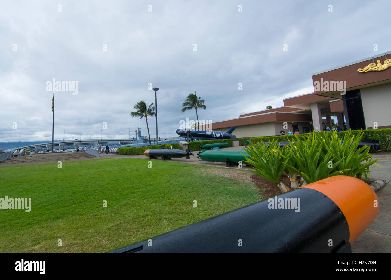 Honolulu, Hawaii Pearl Harbor Memorial war dead Japan bombing, old torpedos on display - Stock Image
