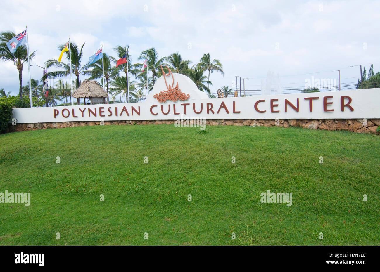 Laie Hawaii Polynesian Cultural Center entrance sign - Stock Image