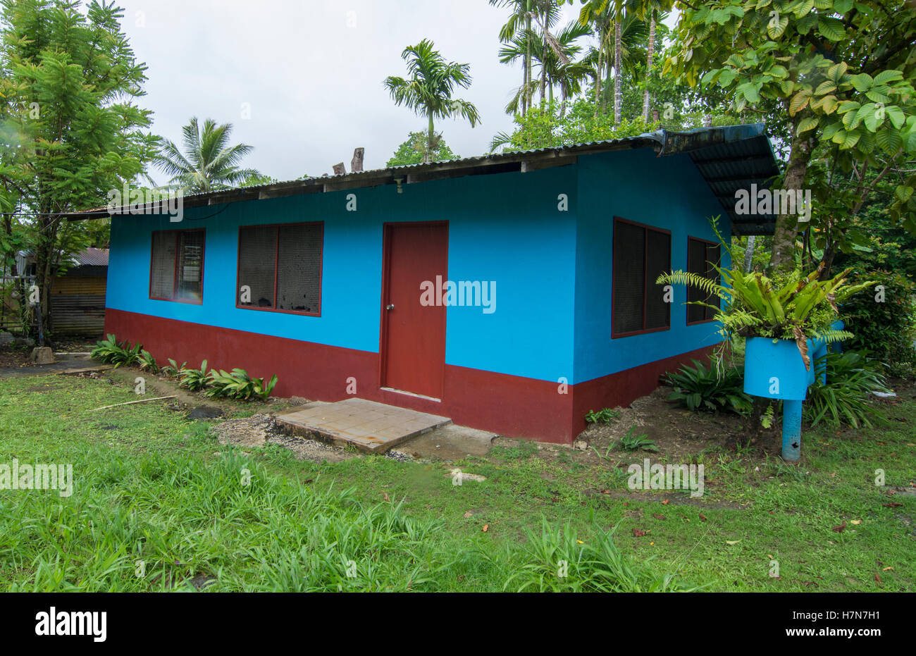 Pohnpei Micronesia local colorful blue home with lush forest - Stock Image