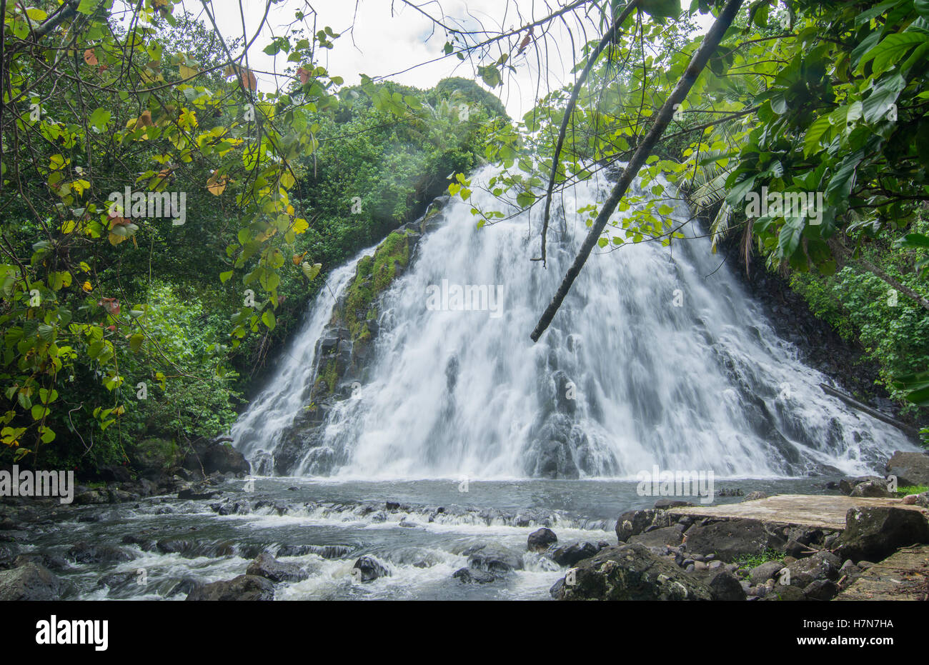 Pohnpei Micronesia Kepirohi  Waterfalll in forest with water flow - Stock Image