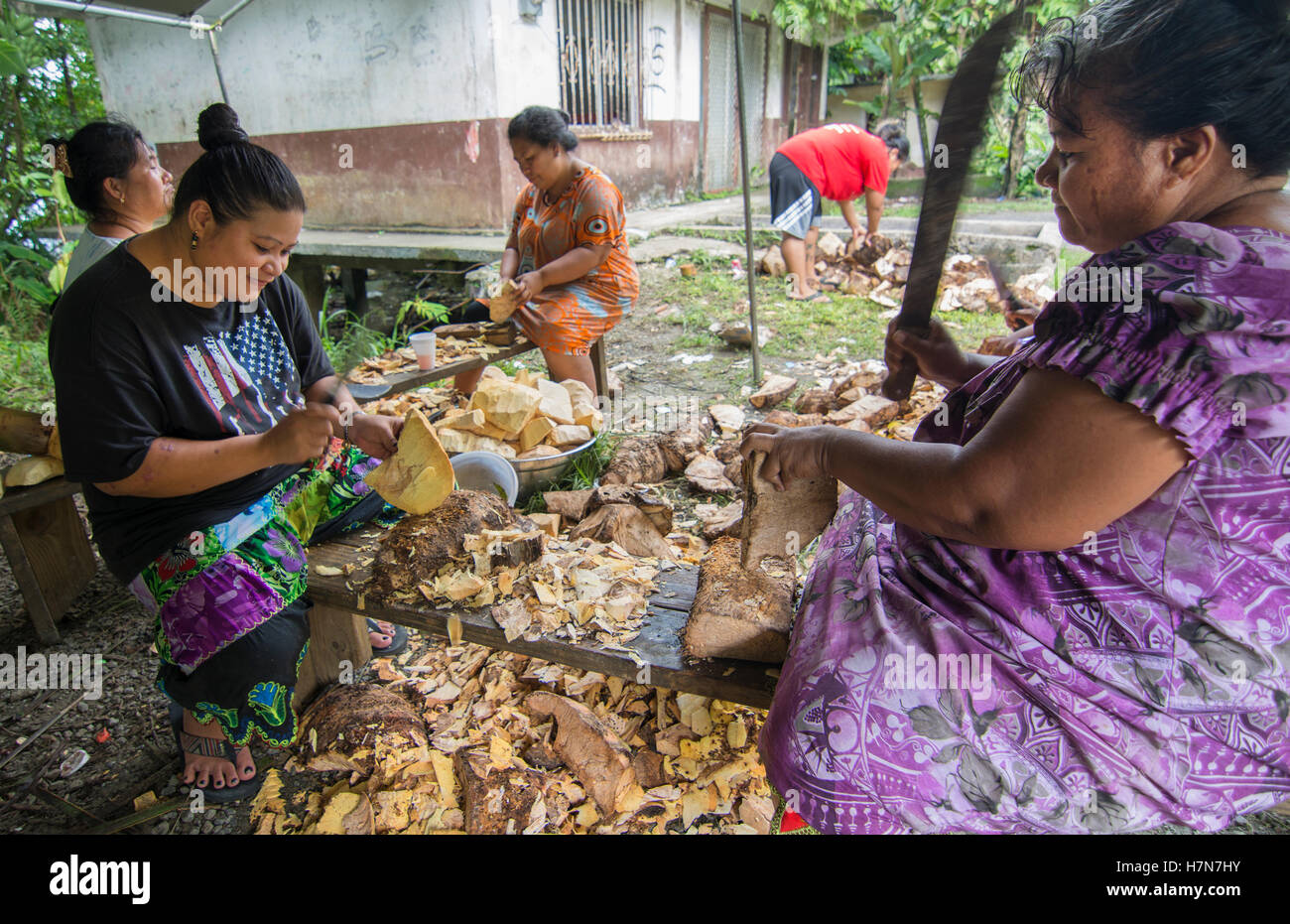 Pohnpei Micronesia women cutting taro root with knives in outdoor kitchen for selling - Stock Image