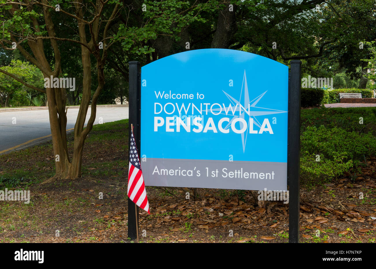 Pensacola Florida sign town America's First Settlement - Stock Image