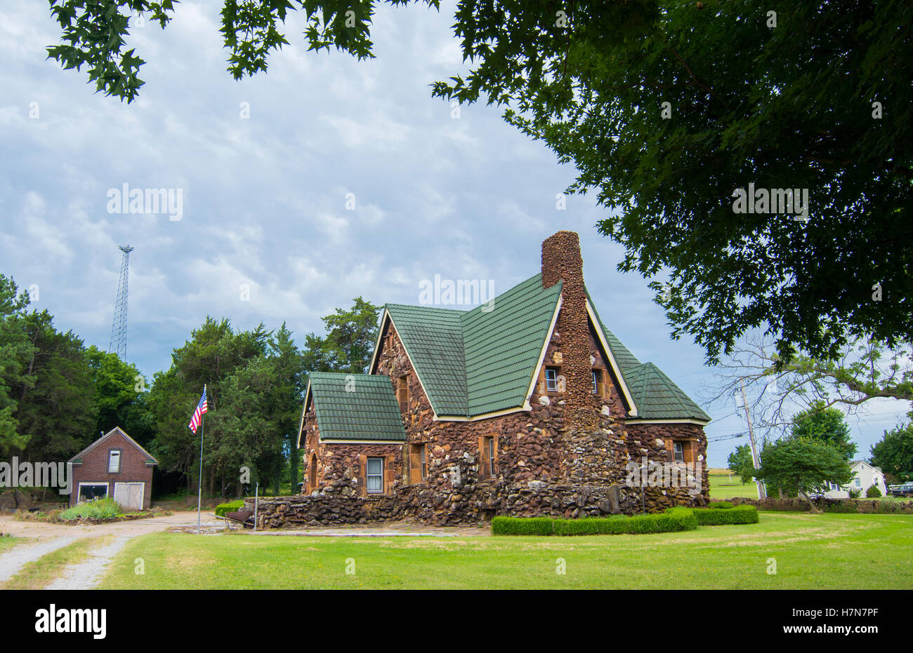Harrah Oklahoma OK old rock home unique rocks and style - Stock Image