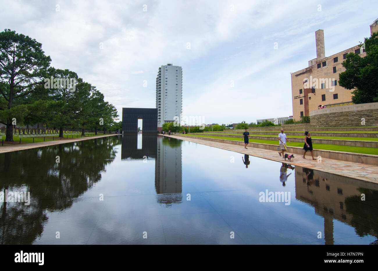 Oklahoma City Oklahoma OK, OKC, historical disaster OKC bombing reflection lake at OKC Bombing Memorial that happened - Stock Image