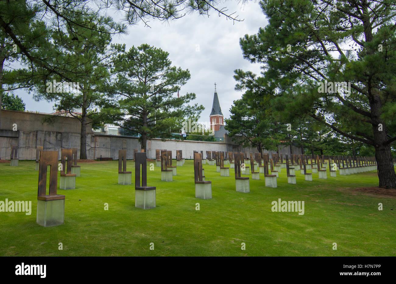 Oklahoma City Oklahoma OK, OKC, historical disaster OKC bombing remains at OKC Bombing Memorial that happened on - Stock Image
