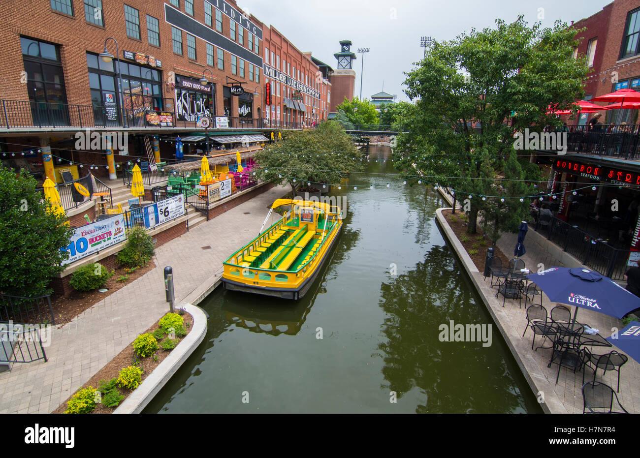 Oklahoma City Oklahoma OKC Bricktown Canal with boats and restaurants downtown - Stock Image