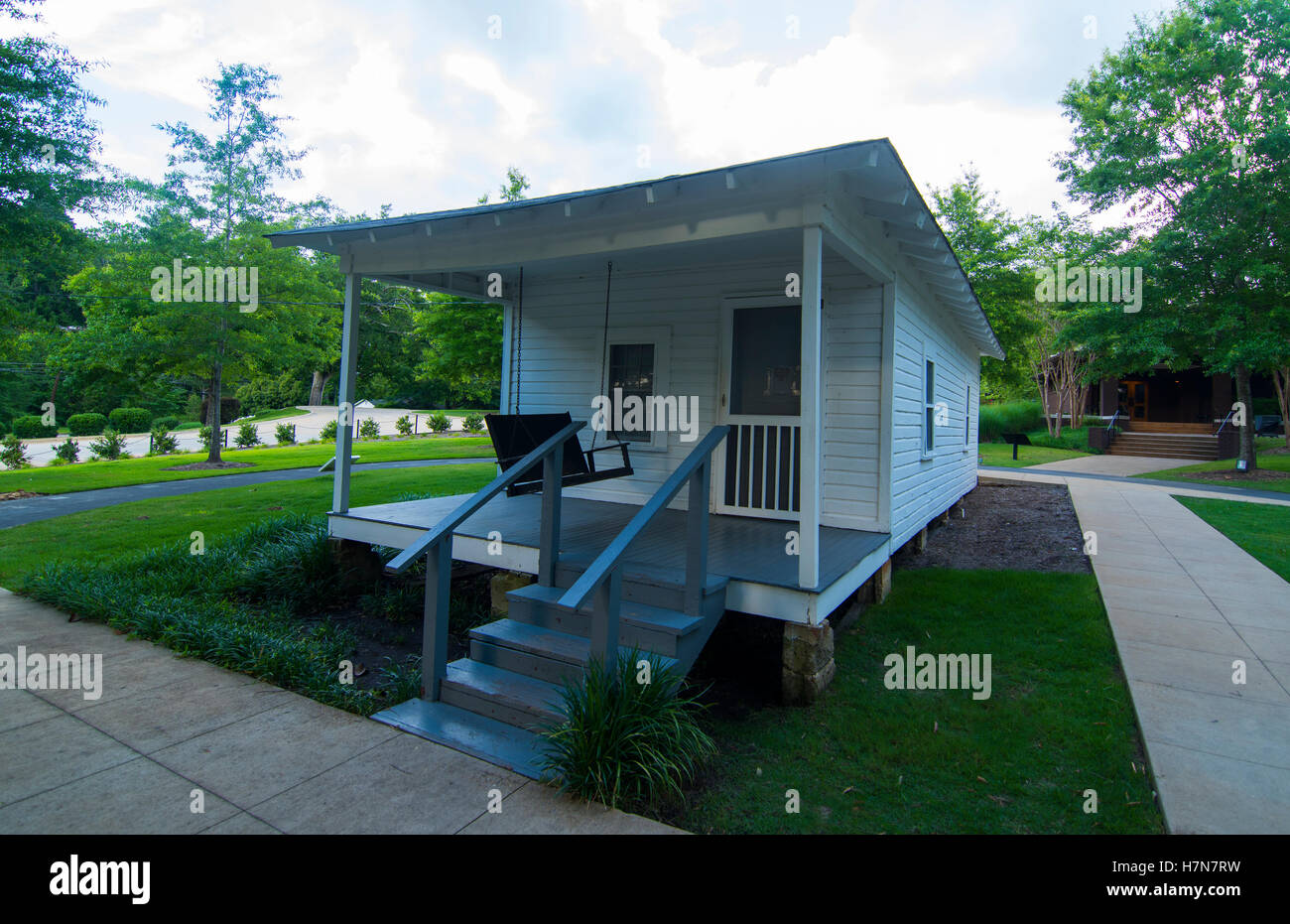 Tupelo Mississippi Elvis Presley birth home and porch in small town of the King of Pop Elvis - Stock Image