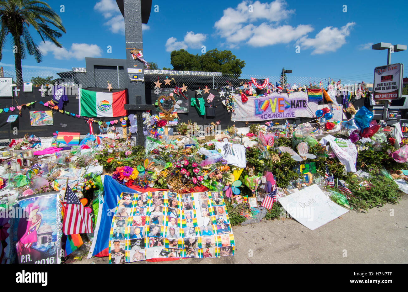 Orlando Florida Pulse night club tragedy shooting memorial at gay bar by terrorist on June 12, 2016 - Stock Image