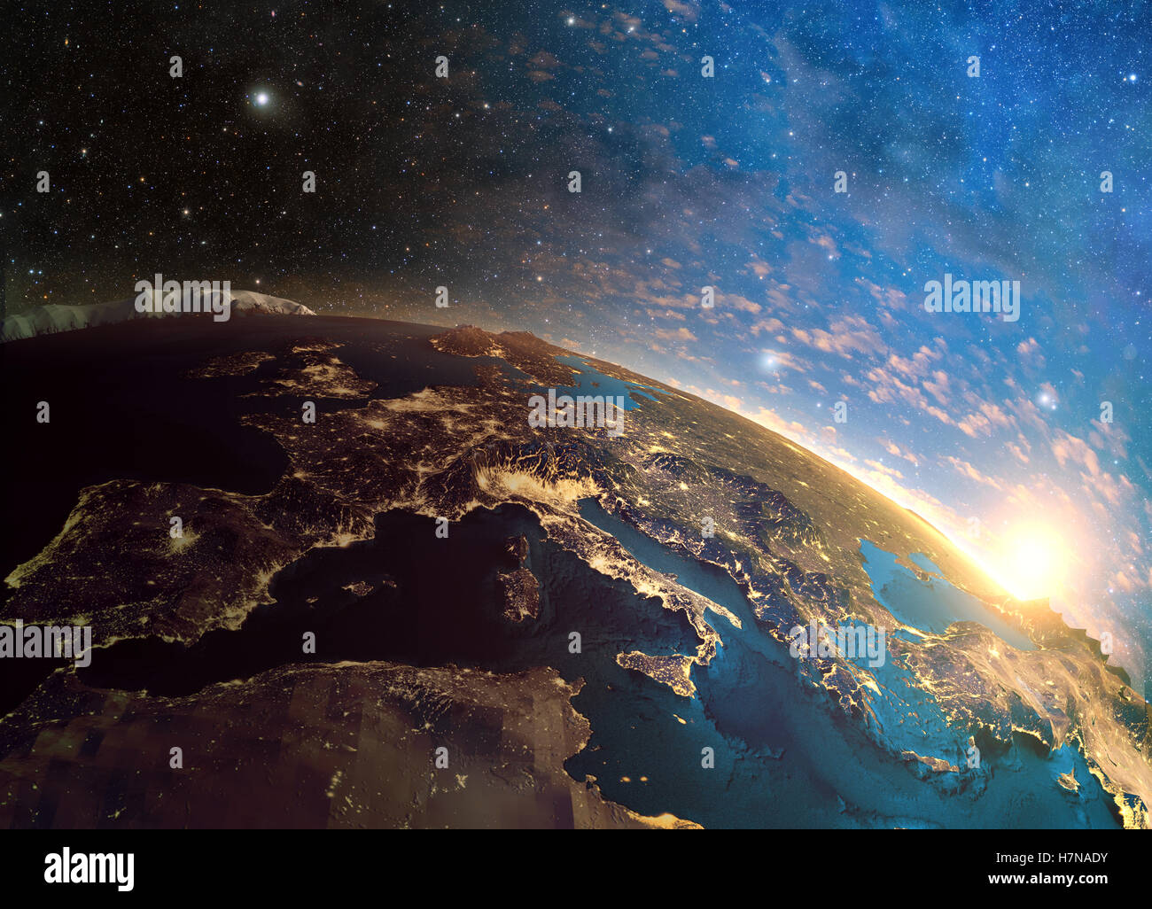3D rendering of detailed colorful Earth,  highly detailed planet earth in the morning, sunrise in Europe - Stock Image