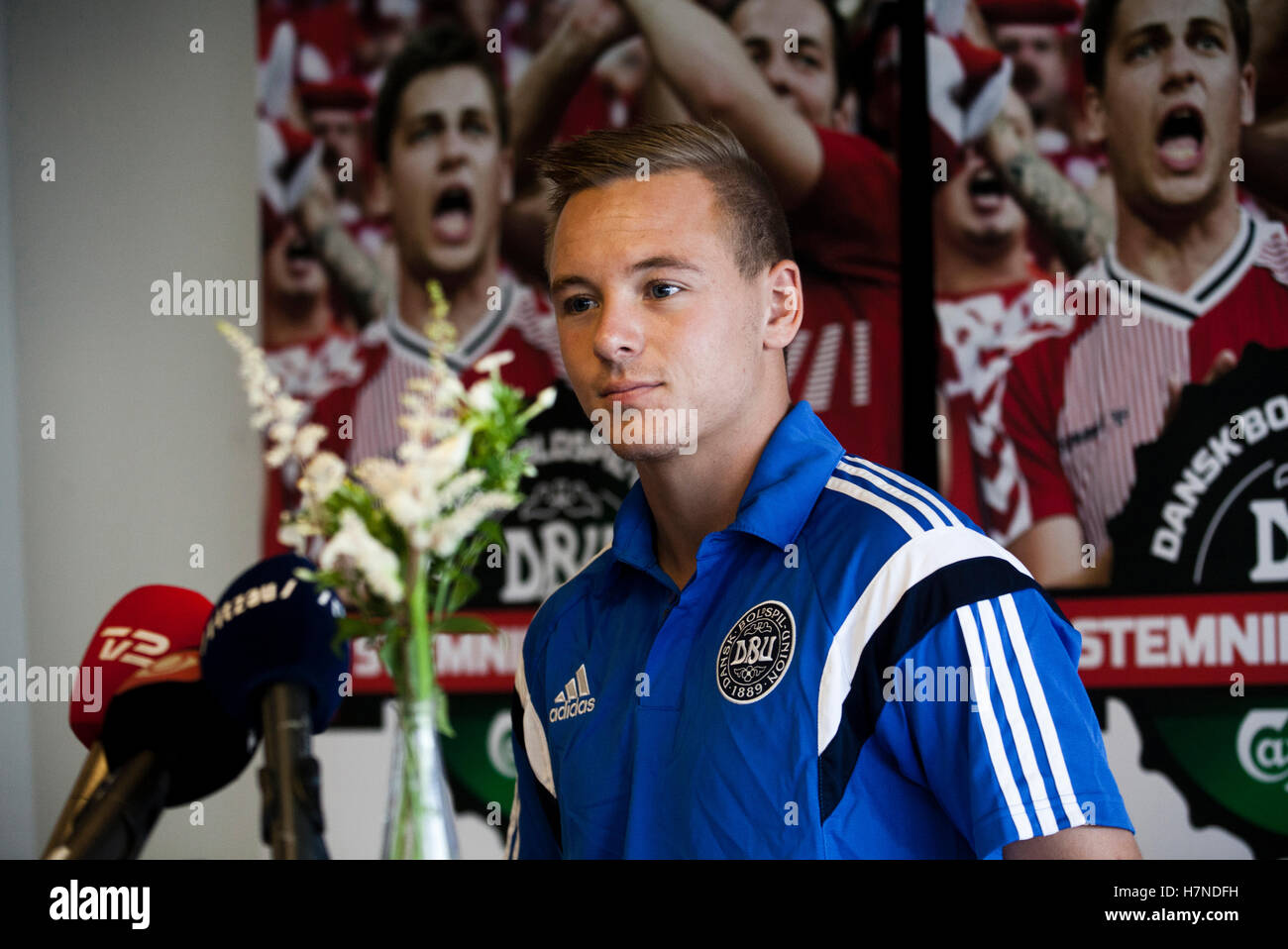 Danish footballer Uffe Bech seen at a press conference in Copenhagen. - Stock Image