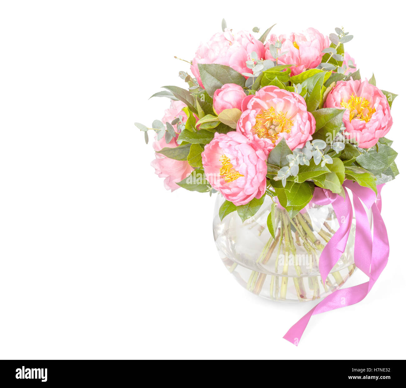 Amazing bouquet of pink pions isolated on white stock photo amazing bouquet of pink pions isolated on white izmirmasajfo