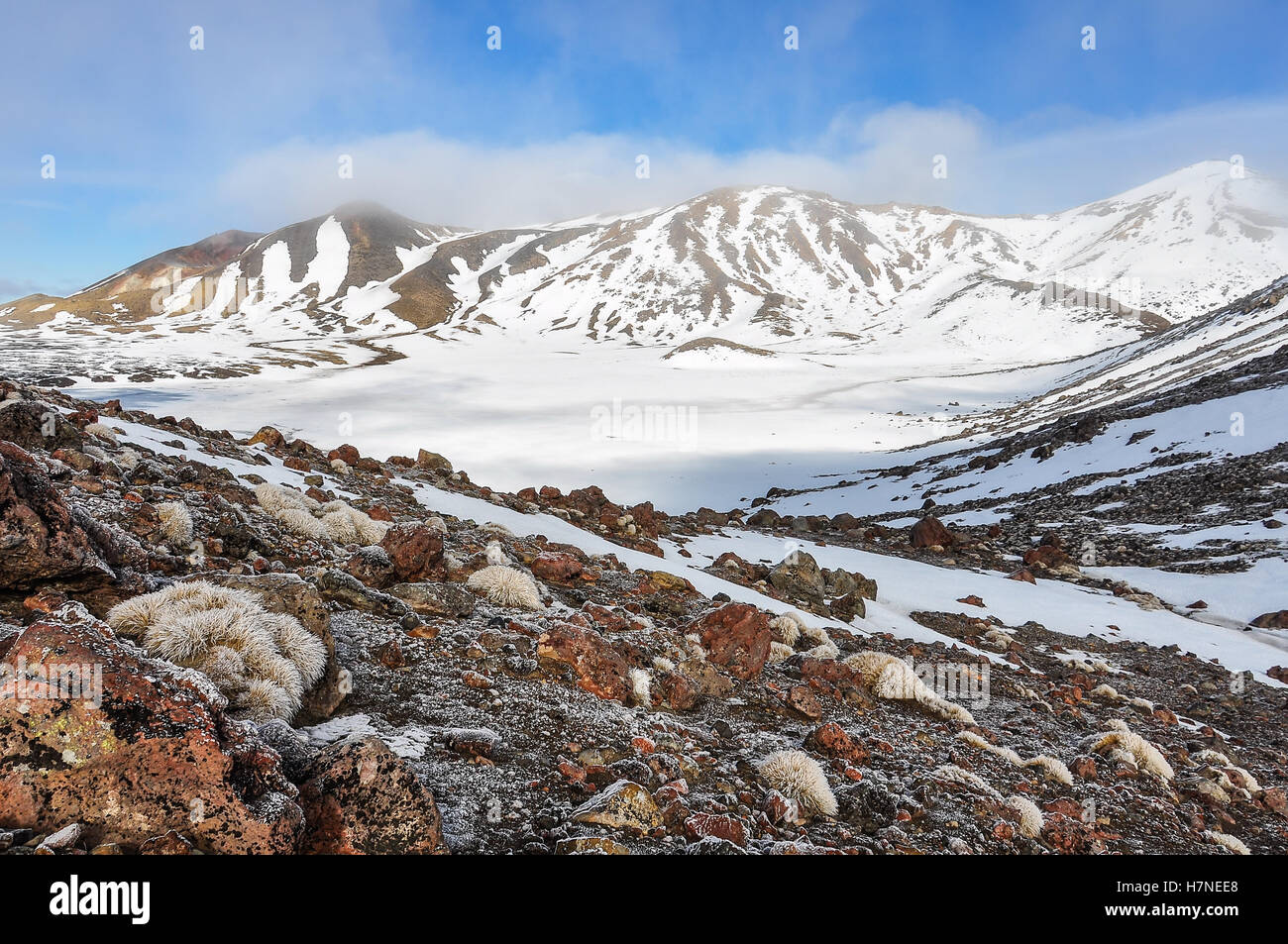 View of Central Crater in the winter Tongariro Alpine Crossing, New Zealand - Stock Image