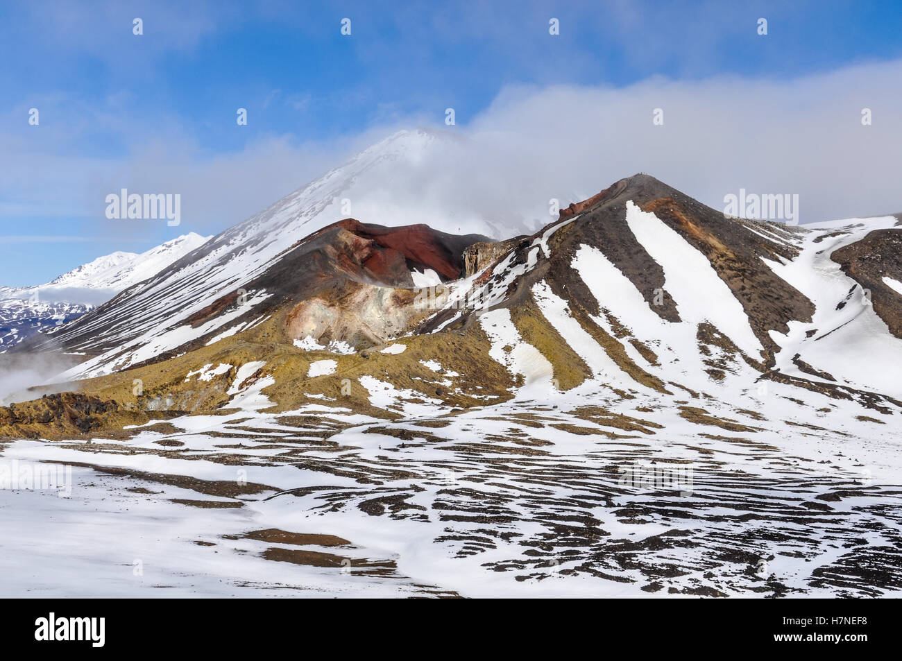 Red Crater in cloud in the winter Tongariro Alpine Crossing, New Zealand Stock Photo