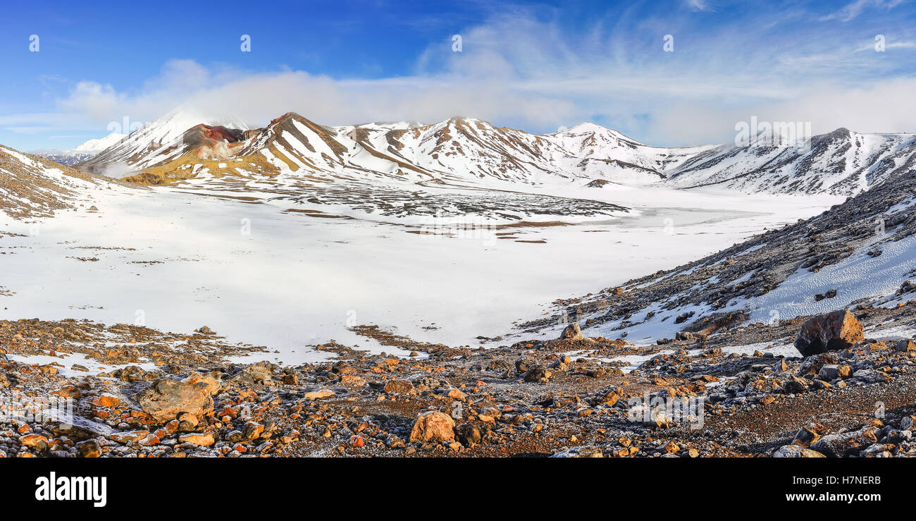 Panoramic view of the Central Crater in the winter Tongariro Alpine Crossing, New Zealand - Stock Image