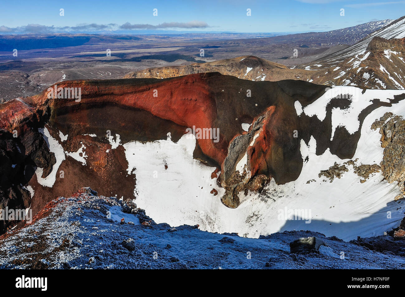 View from the Red Crater in the winter Tongariro Alpine Crossing, New Zealand - Stock Image
