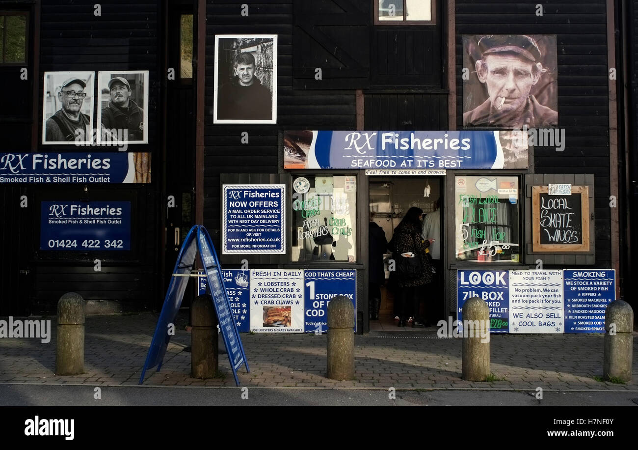 A fish shop is seen in the seafront of Stade beach area of Hastings, in Britain November 6, 2016. © John Voos - Stock Image