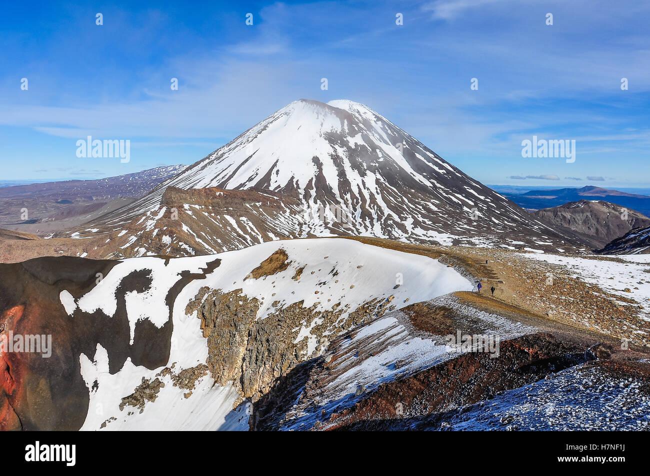 View of Mount Ngauruhoe in the winter Tongariro Alpine Crossing, New Zealand - Stock Image