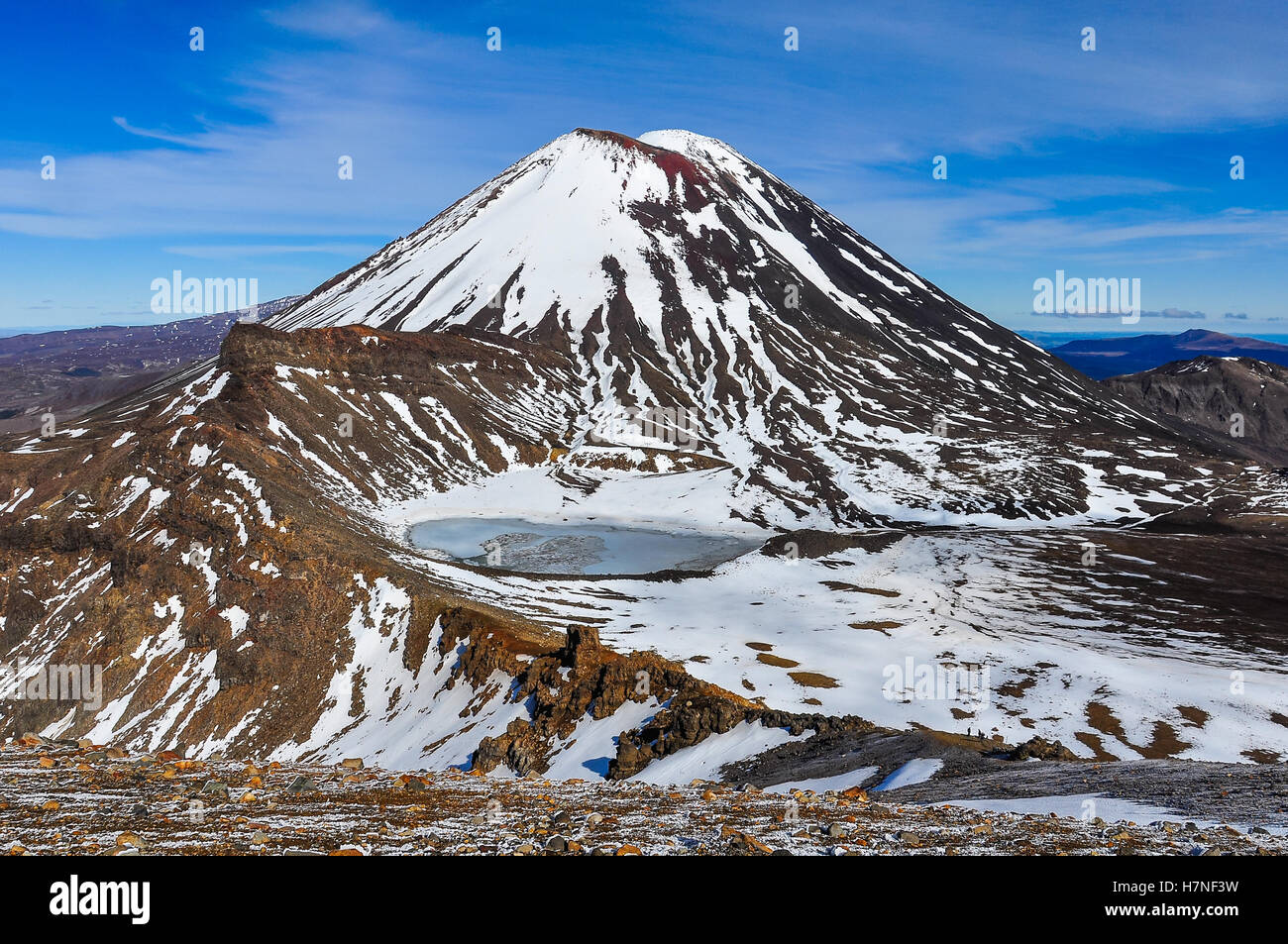 Mount Doom and the South Crater in the winter Tongariro Alpine Crossing, New Zealand - Stock Image