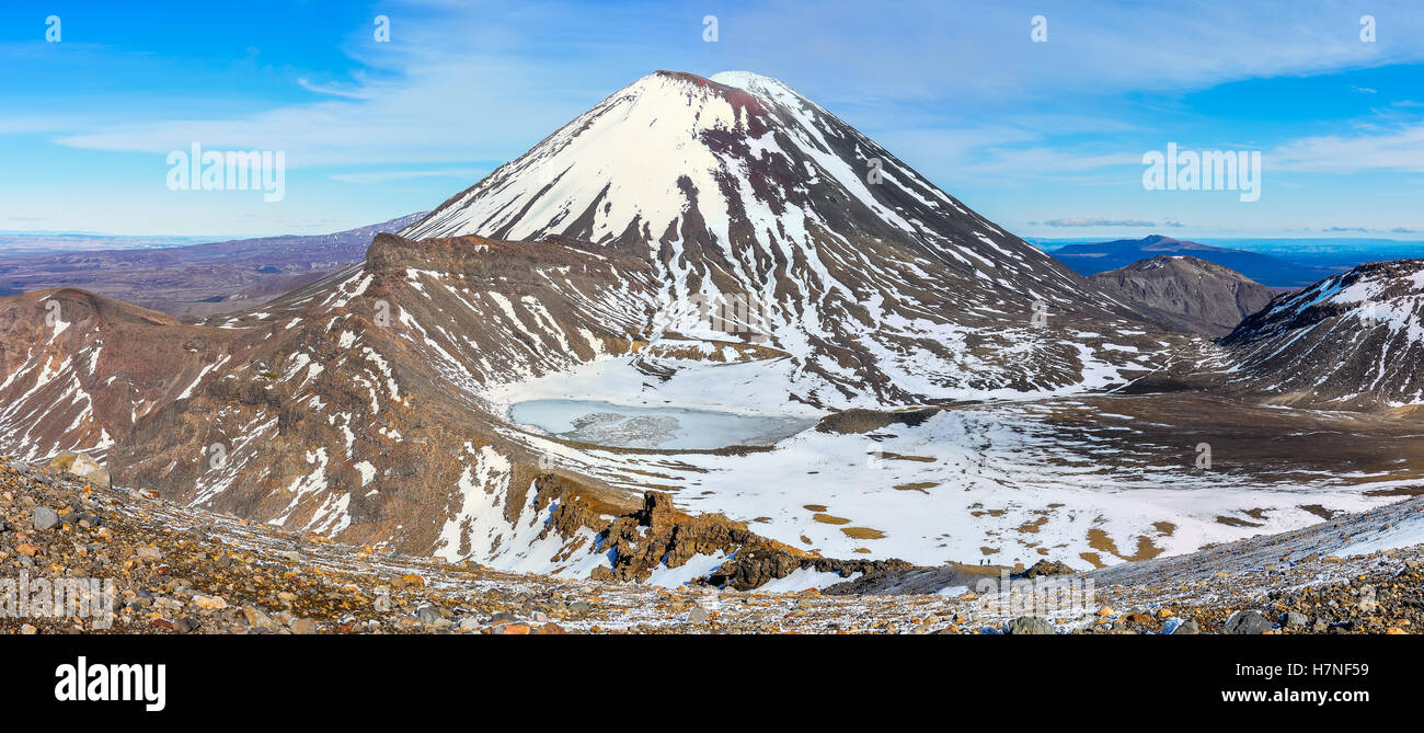 Mount Doom and the South Crater in the winter Tongariro Alpine Crossing, New Zealand Stock Photo