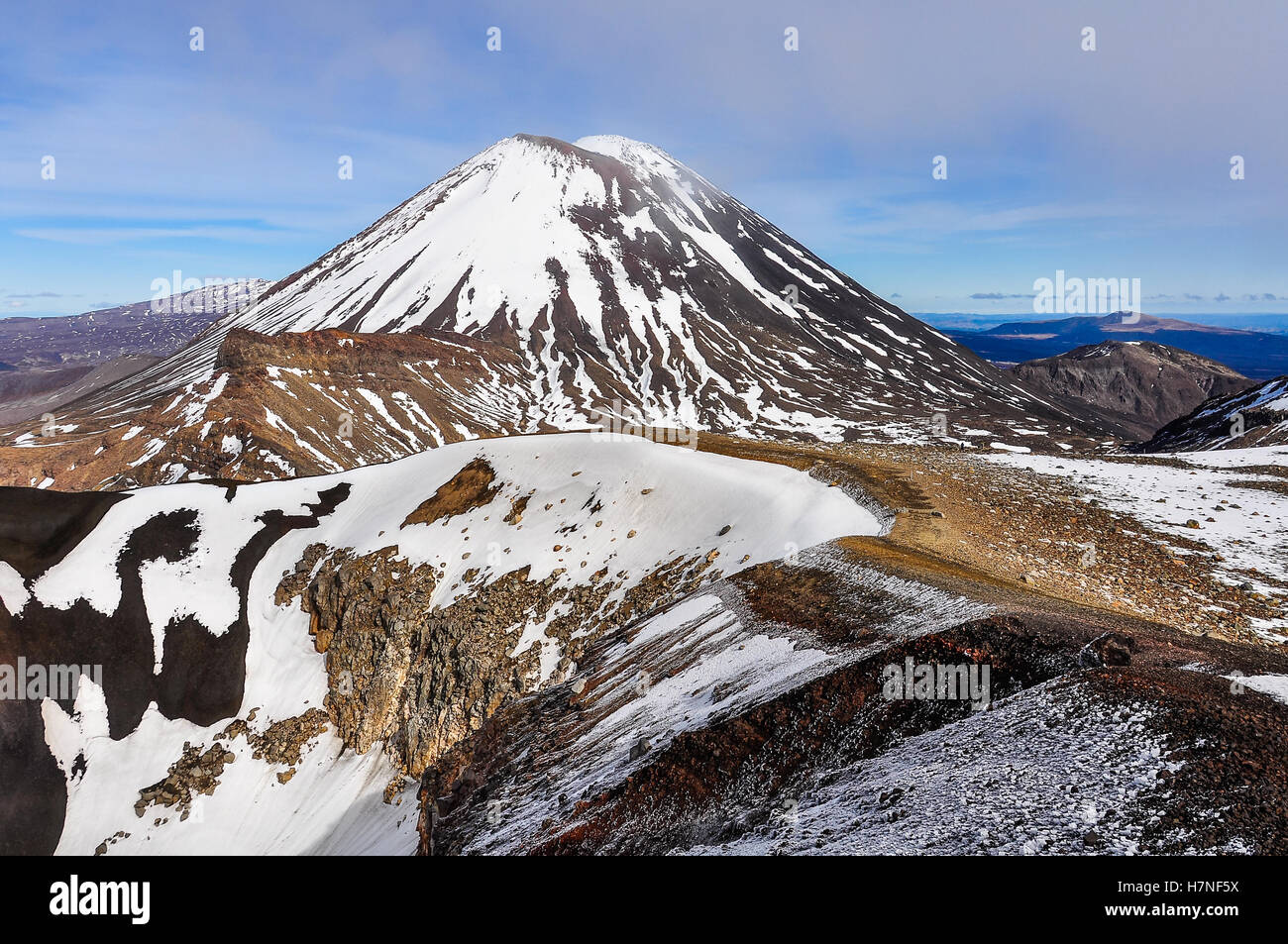 Mount Doom in the winter Tongariro Alpine Crossing, New Zealand - Stock Image