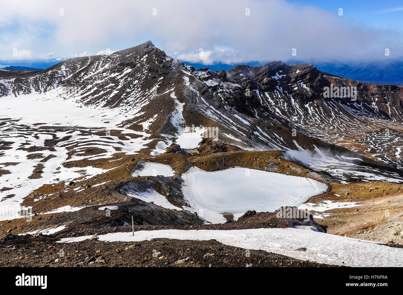 Frozen Emerald Lakes in the winter Tongariro Alpine Crossing, New Zealand - Stock Image