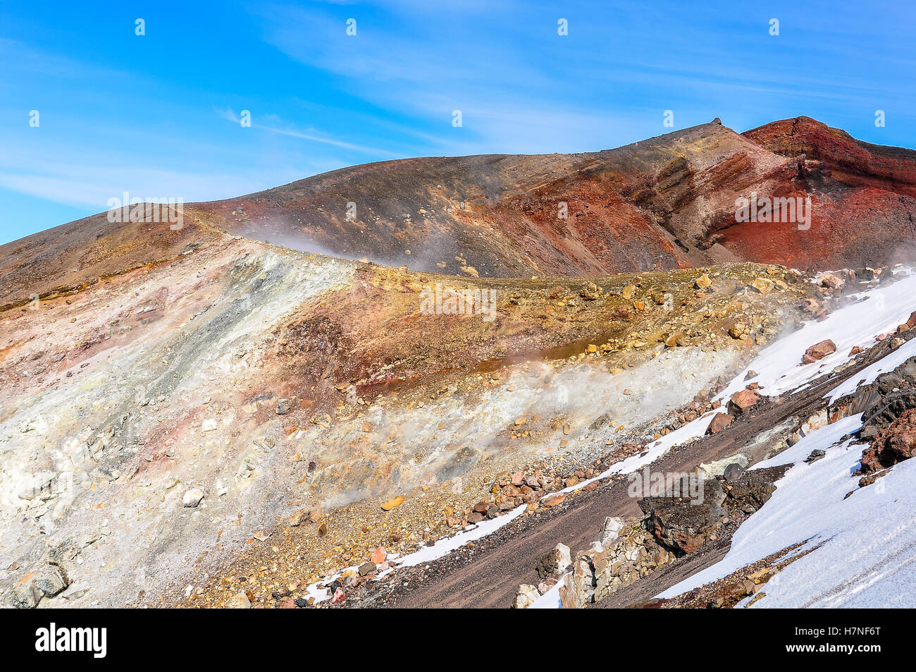 Side view of Red Crater in the winter Tongariro Alpine Crossing, New Zealand - Stock Image