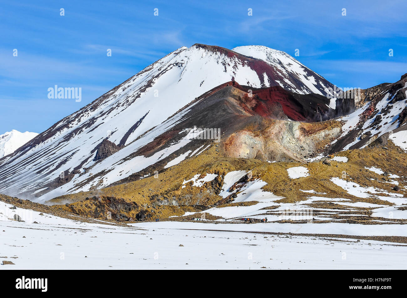 Intense colors of Red Crater in the winter Tongariro Alpine Crossing, New Zealand - Stock Image