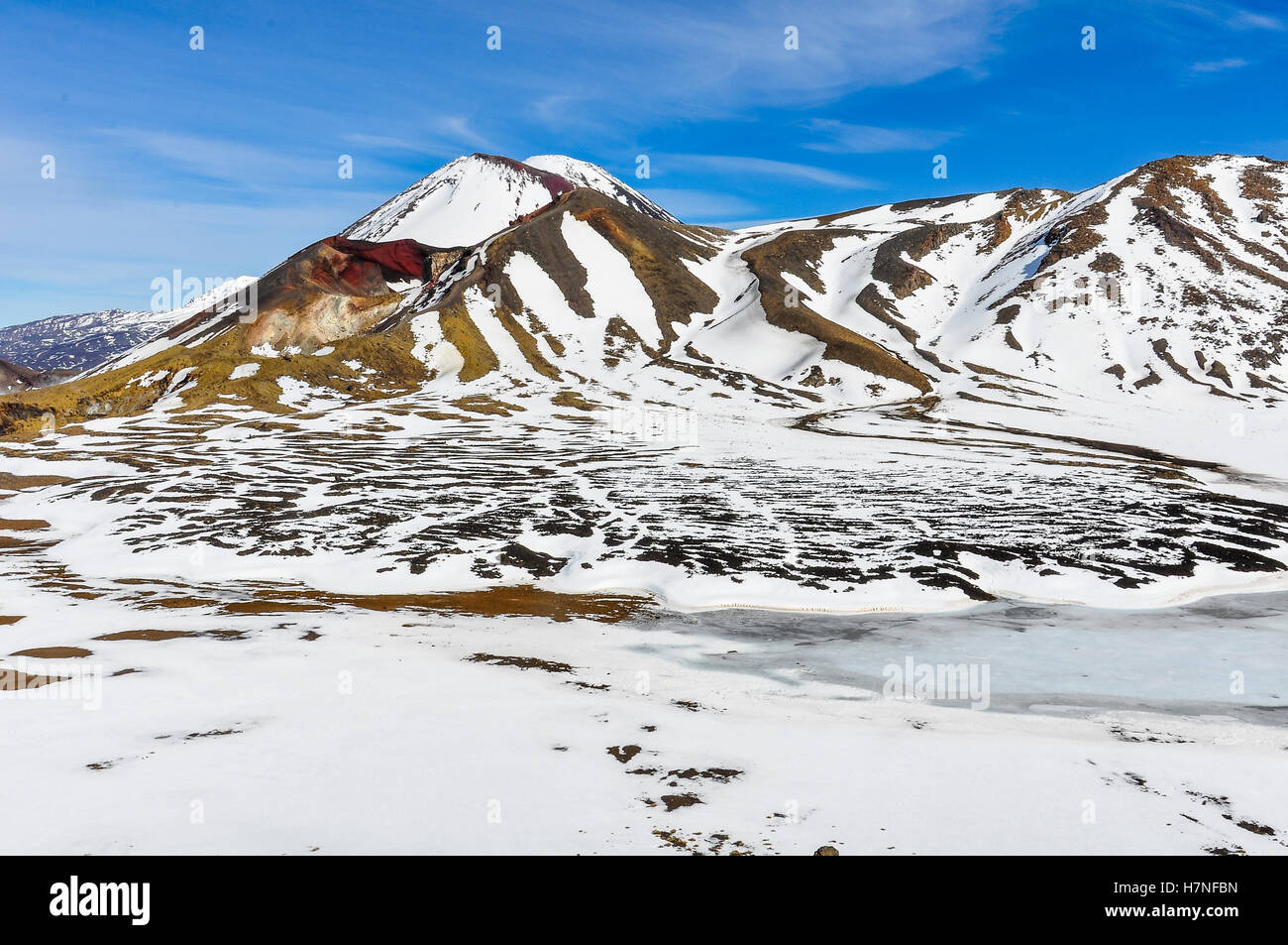 Central and Red Crater in the winter Tongariro Alpine Crossing, New Zealand - Stock Image