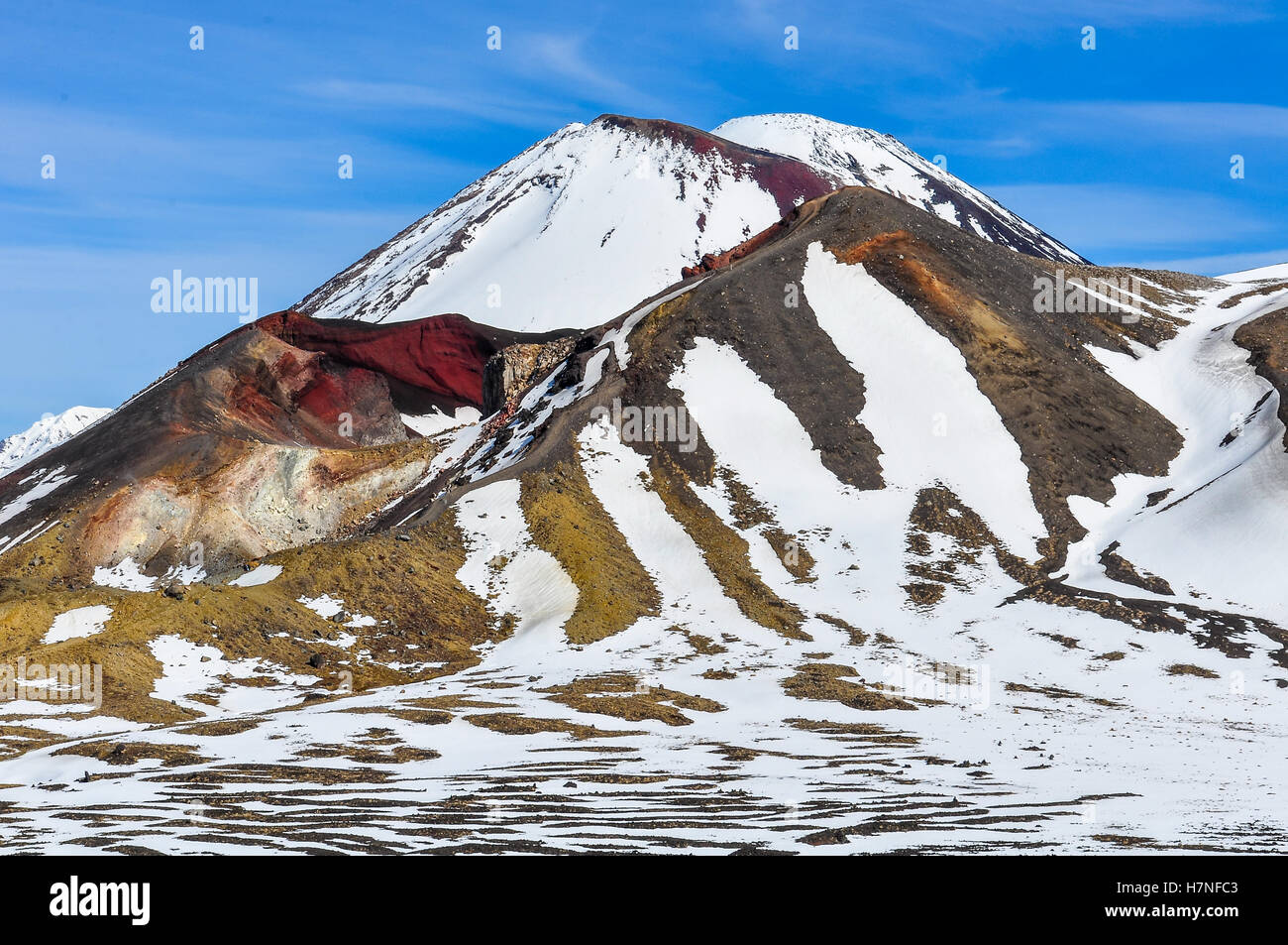 Close view of the Red Crater in the winter Tongariro Alpine Crossing, New Zealand - Stock Image