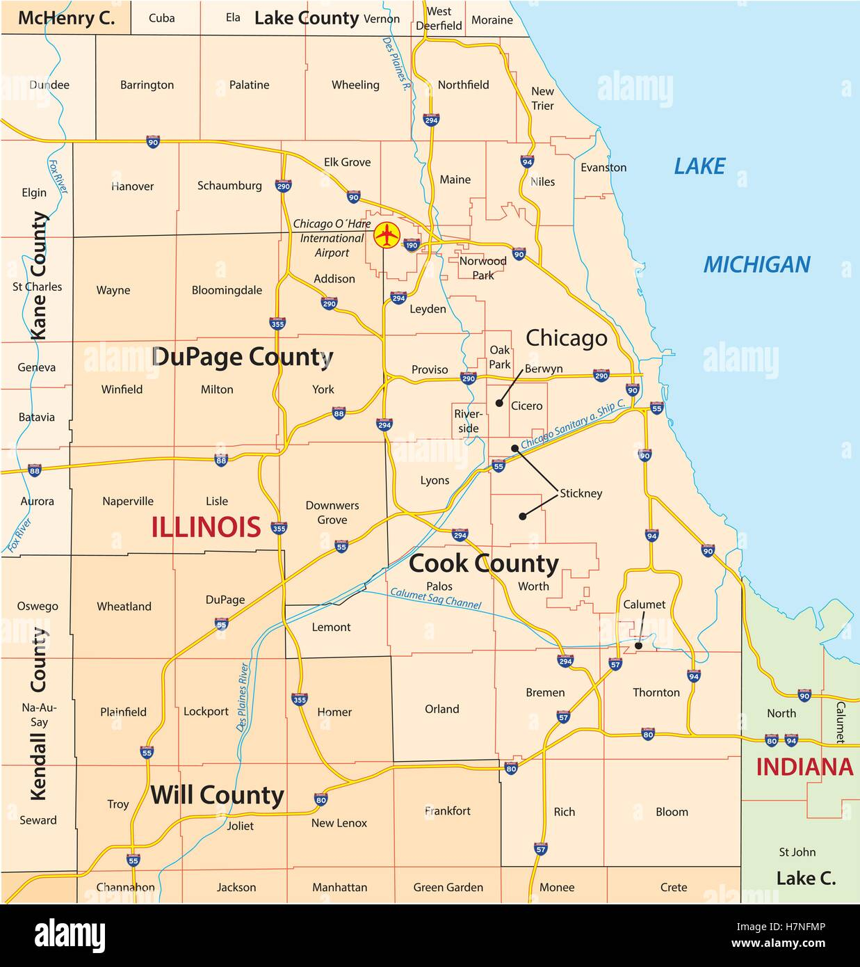 City Map Of Chicago Stock Photos & City Map Of Chicago Stock ...