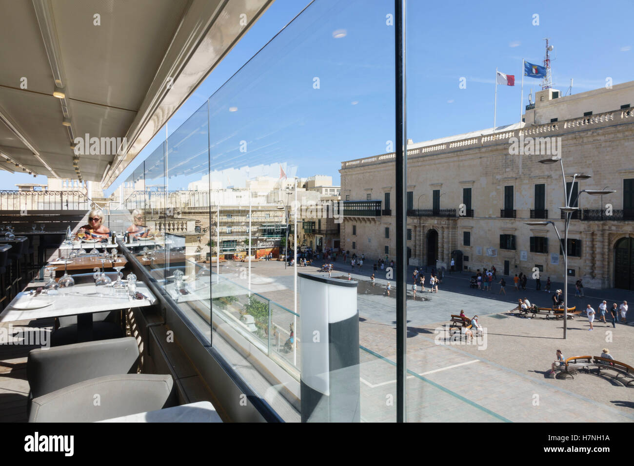 Valletta, walled capital city port of Malta. The City Lounge Steak House, upmarket central restaurant and bar with - Stock Image