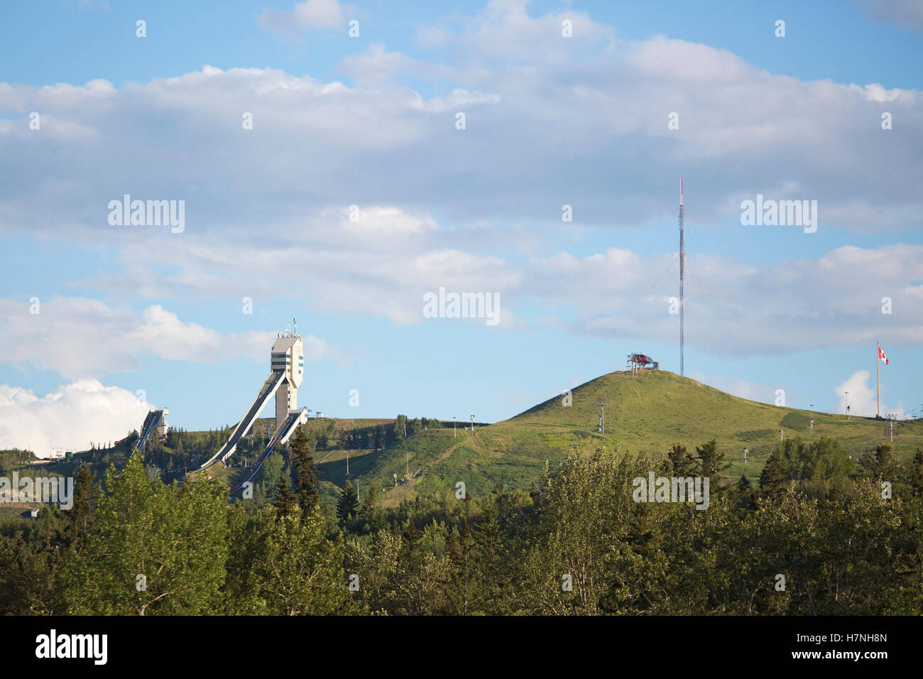 Canada Olympic Park (COP) with ski jump, venue for 1988 Olympics now used for athletic training and public recreation - Stock Image