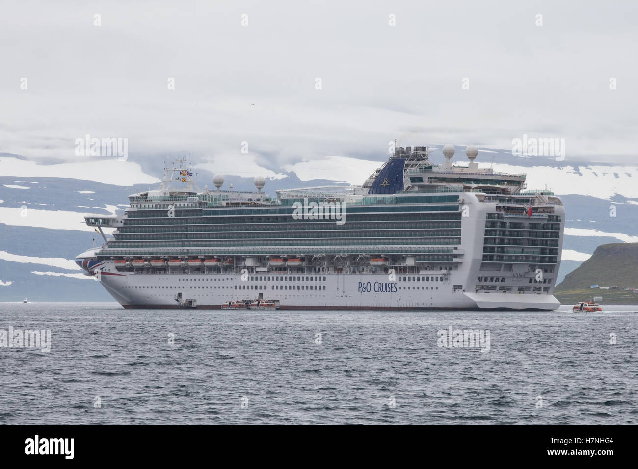 P&O Cruise Ship Azura anchored off Isafjordur, Iceland - Stock Image