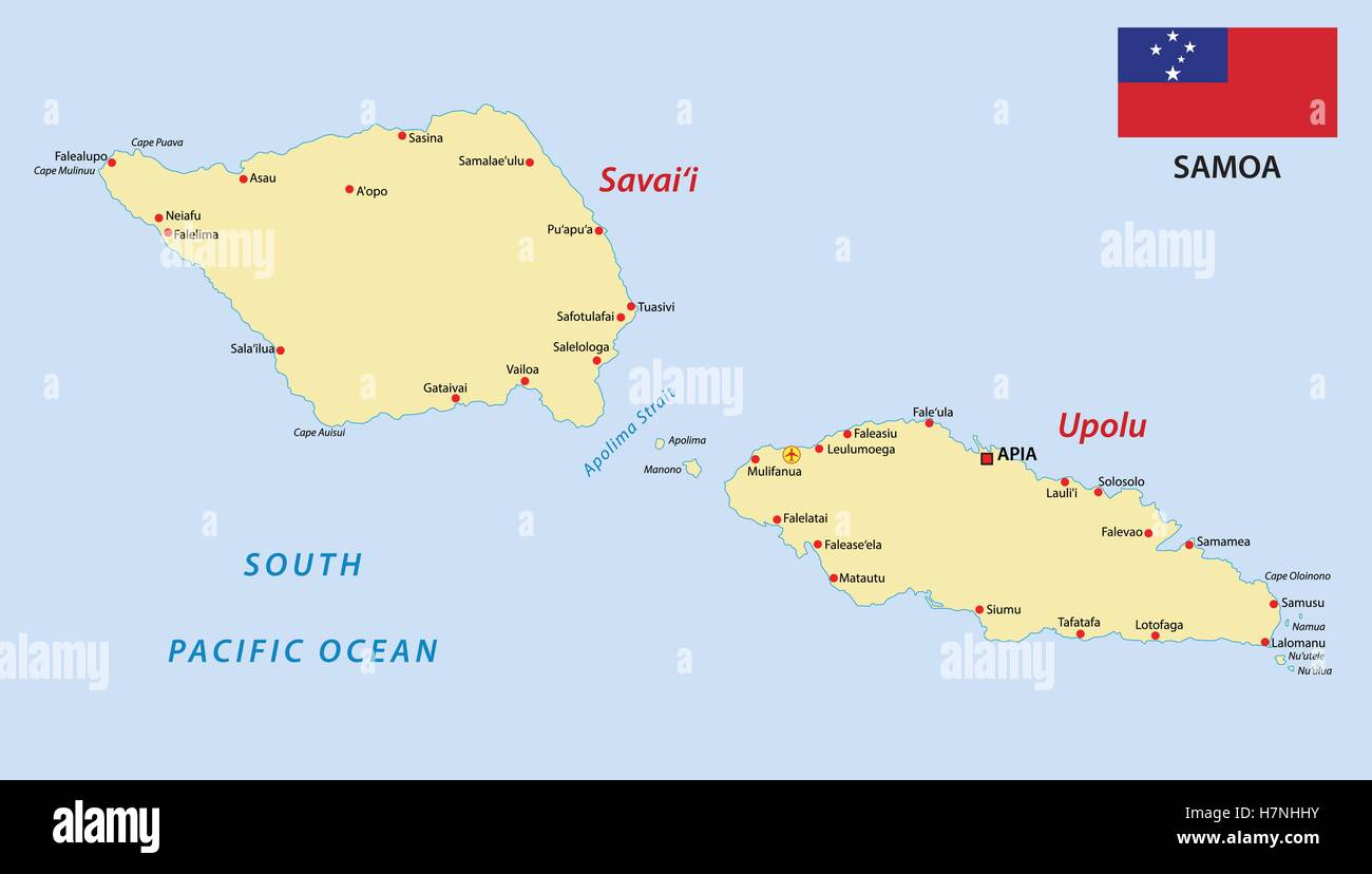 samoa map with flag
