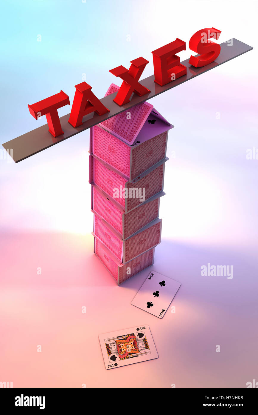 Taxes balancing on a House of cards Stock Photo