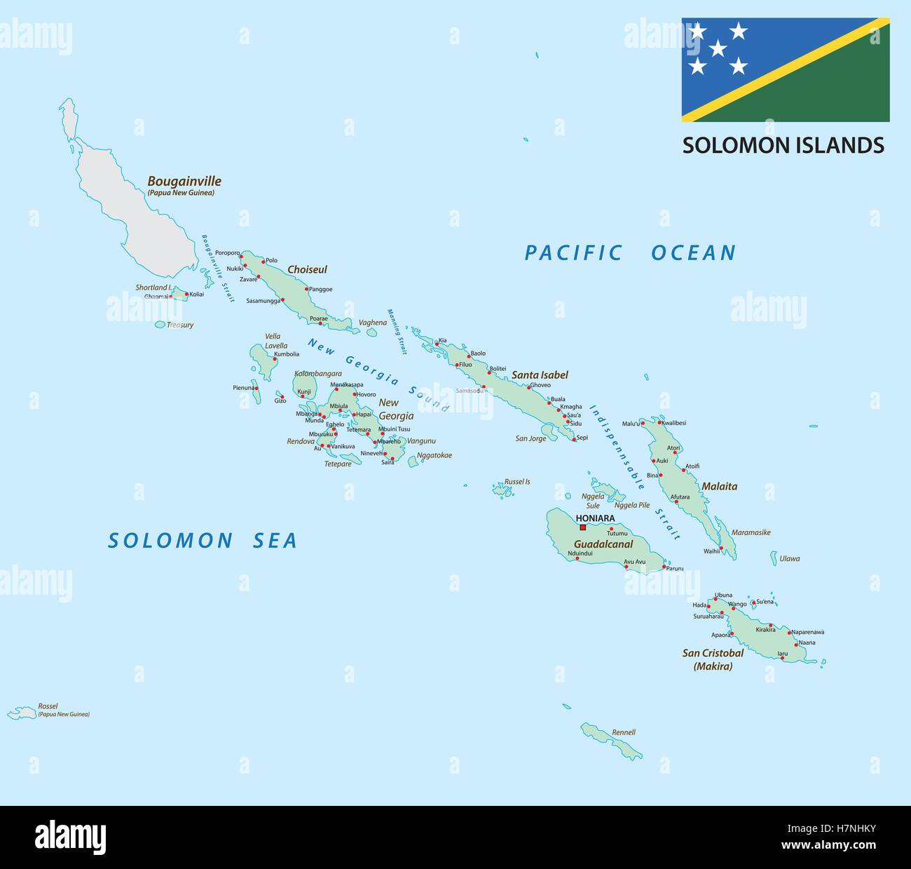 solomon Islands map with flag - Stock Image