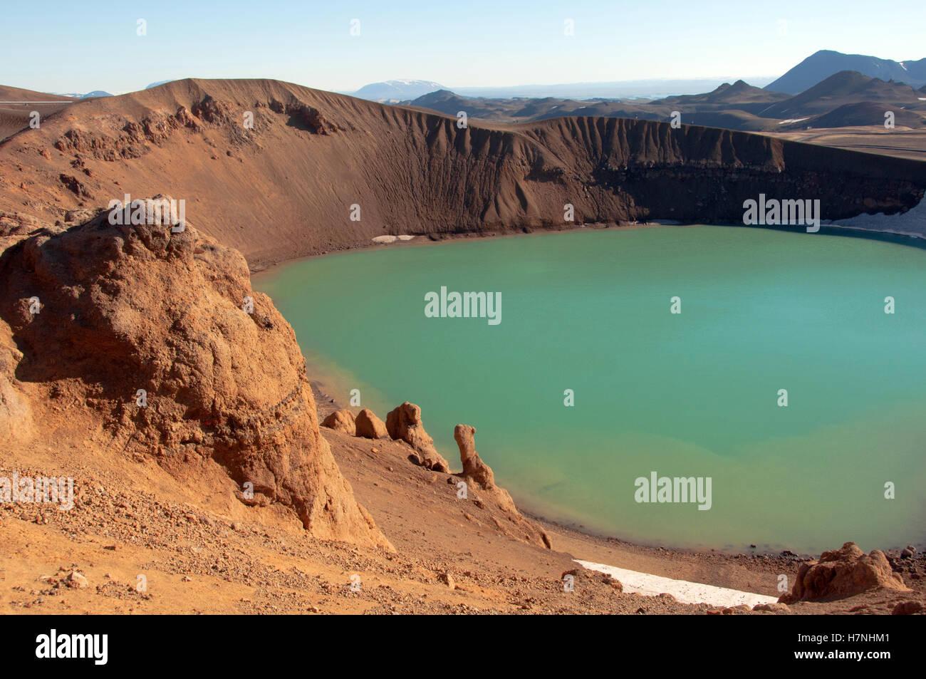The Stora Viti Krater by Mount Krafla Iceland - Stock Image