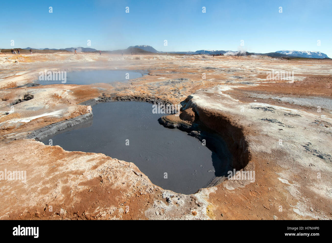 Fumaroles at the geothermal area of Hverir Stock Photo