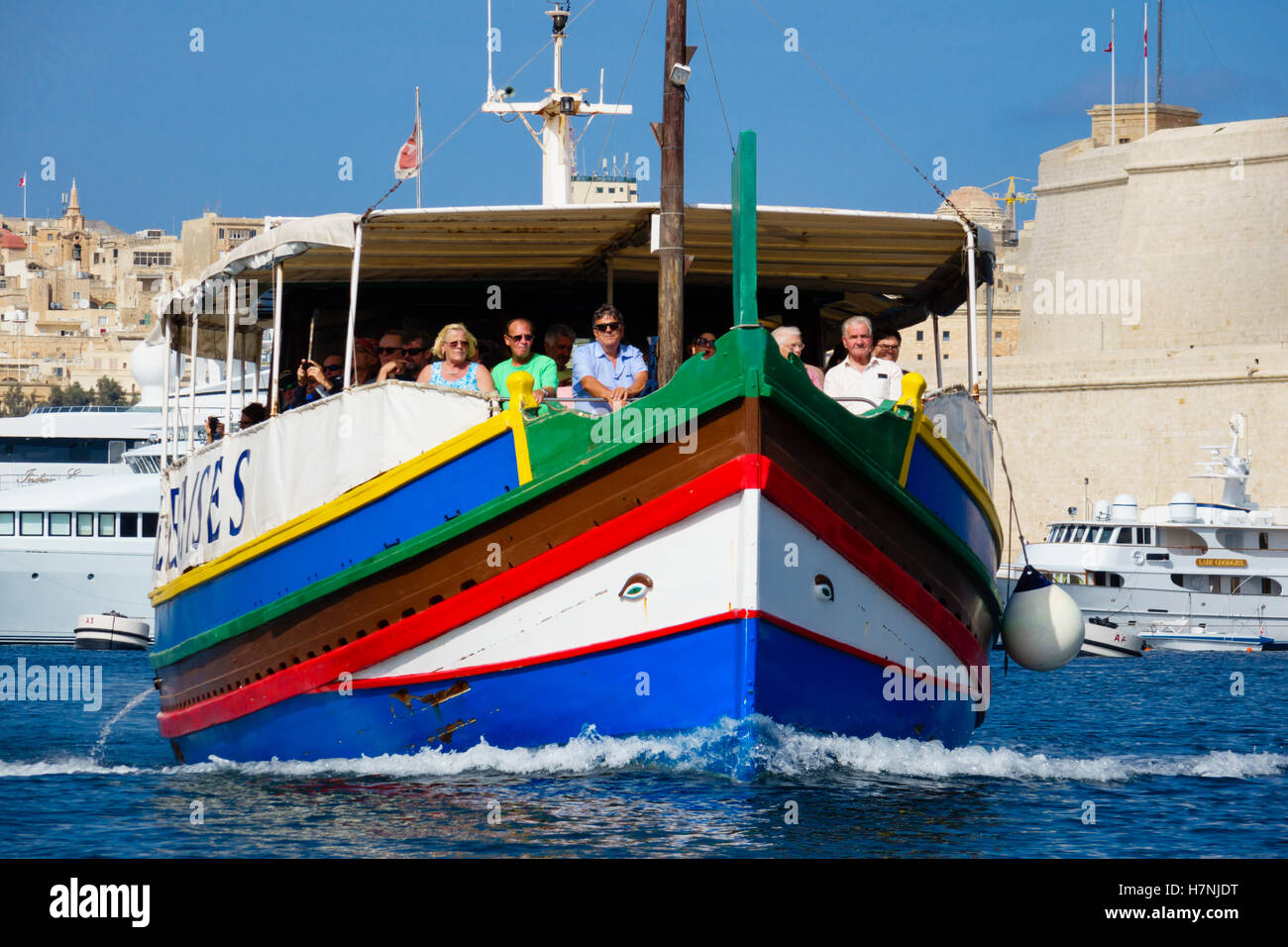 Boat trip in the Grand Harbour of Valletta, Malta. - Stock Image