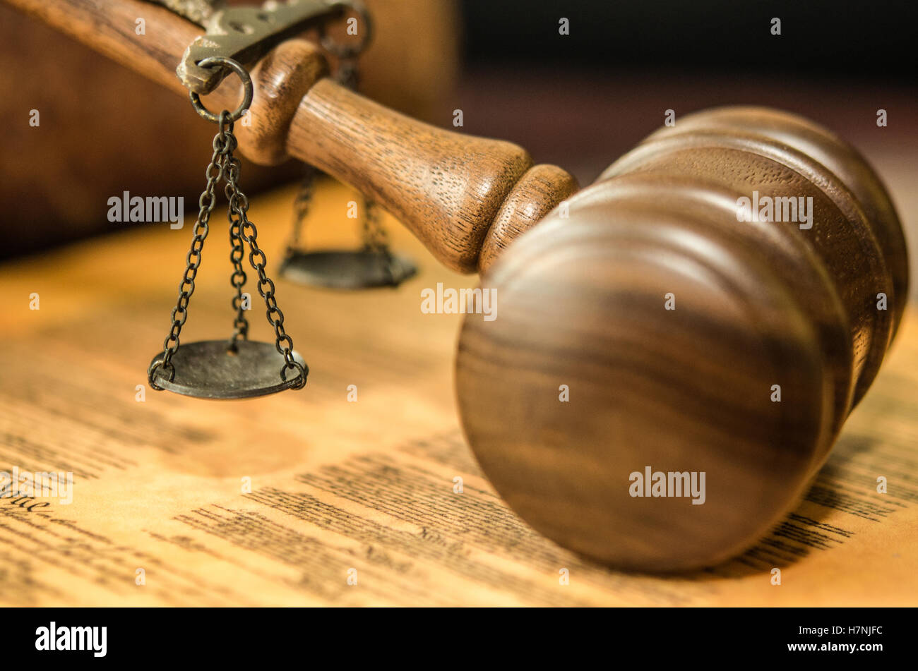 Judge's Gavel and Scales and constitution - Stock Image