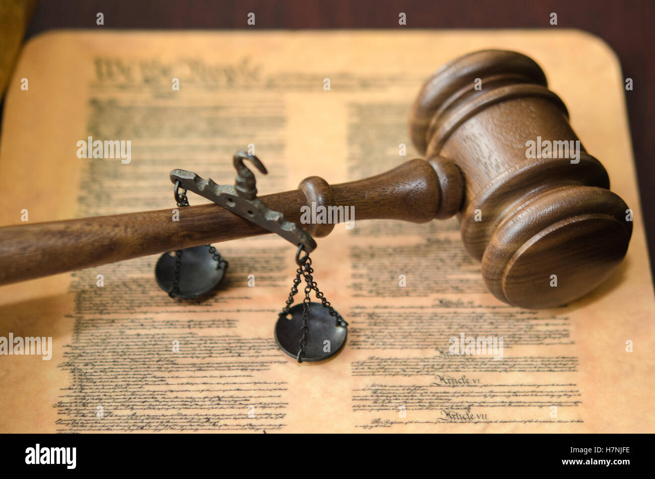Gavel Scales and Constitution - Stock Image