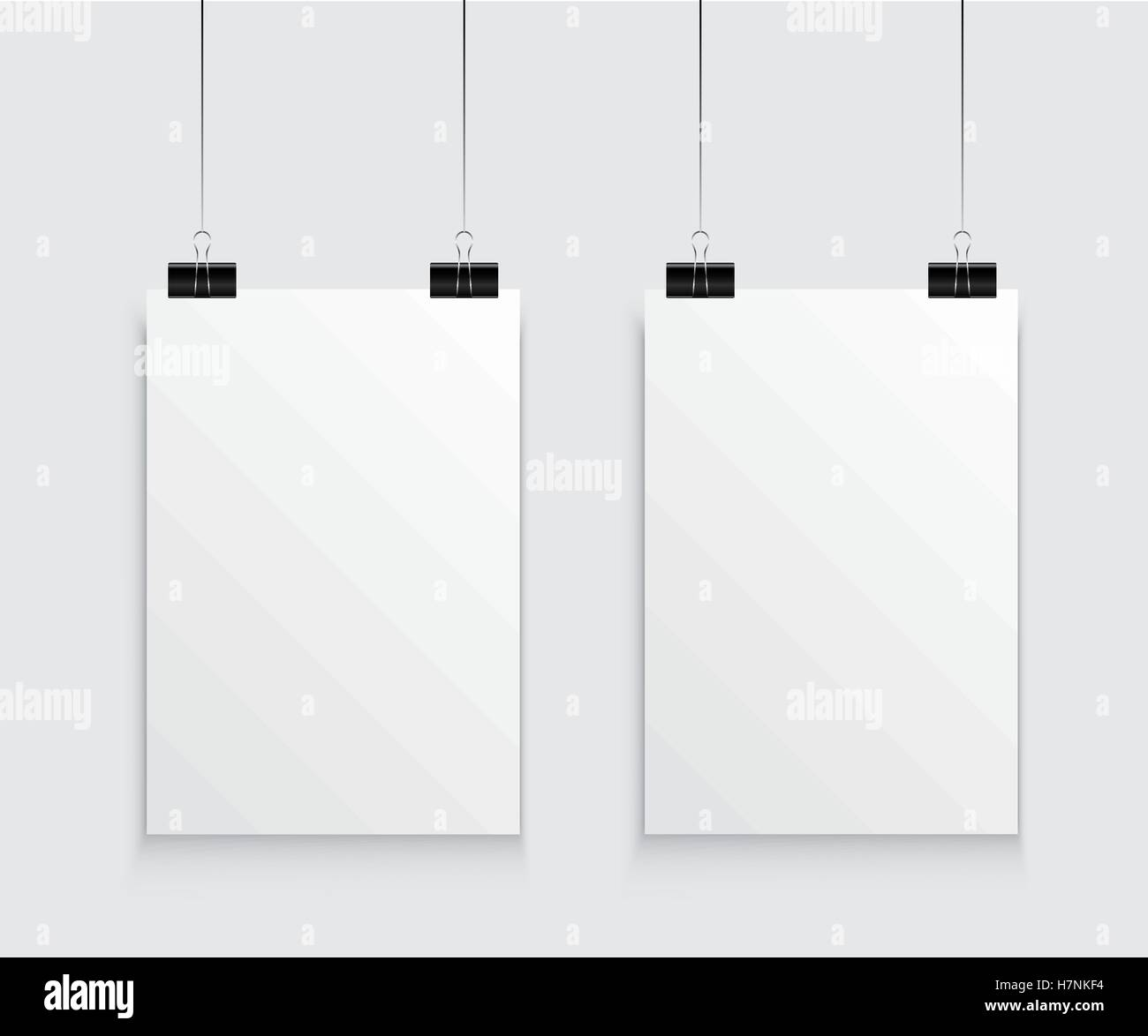 Hanging paper poster on wall poster. Vector illustration - Stock Image